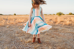Rainbow Stripes Twirl Dress