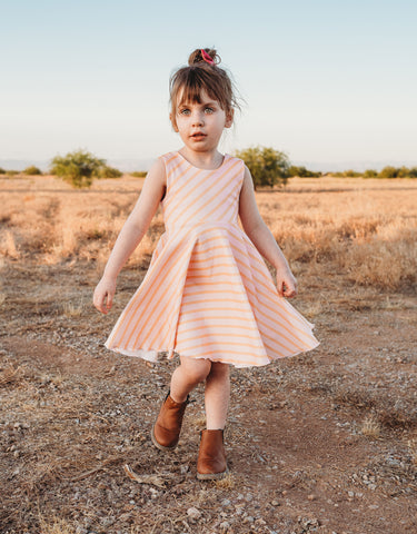 Orange and Pink Sherbet Stripes Twirl Dress