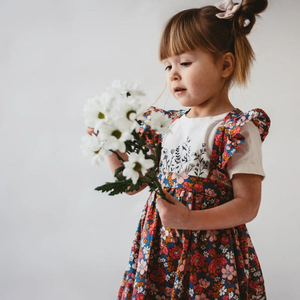 Spring Floral Ruffle Suspender Skirt