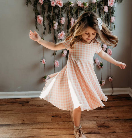 Coral Gingham Easter Twirl Dress