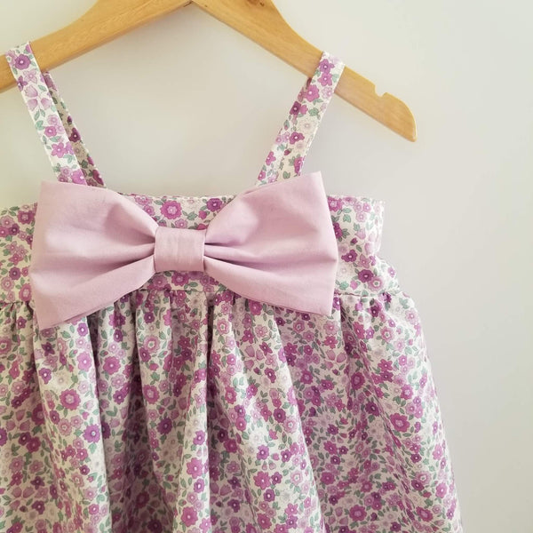 Lavender Floral Handmade Summer Party Dress