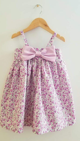Flowers and Bow Babydoll Girl's Summer Party Playdate Dress