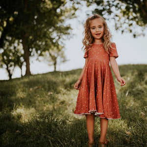 Rust Hearts Twirl Dress