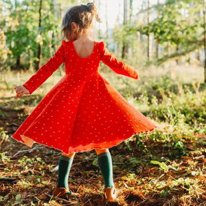 Girls Red Christmas Hearts Twirl Dress