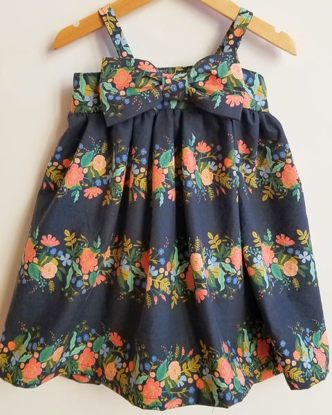 Navy Floral Girl's Printed Modern Party Dress