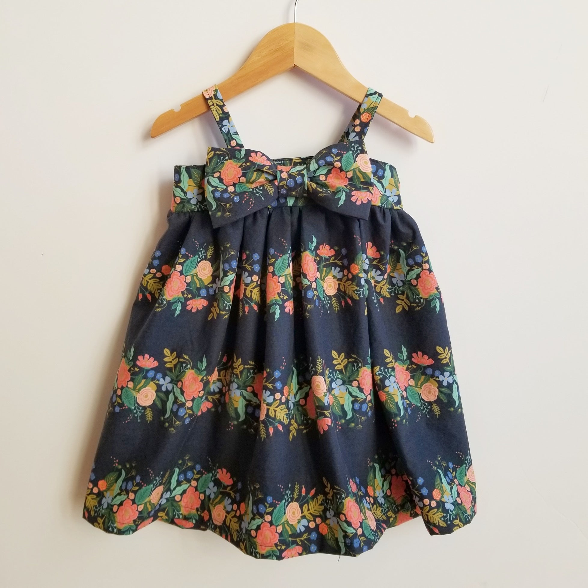 Girl's Modern Navy Floral Summer Babydoll Dress