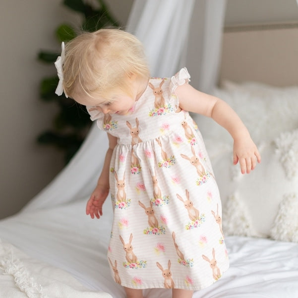 Floral Easter Bunny Print Dress