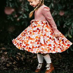 Shades of Red Hearts Twirl Dress