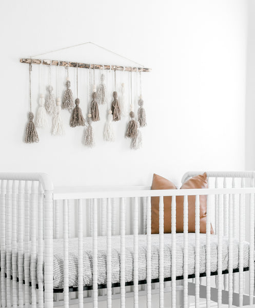 Modern White Nursery with Hand Stamped Arrow Print Crib Sheet