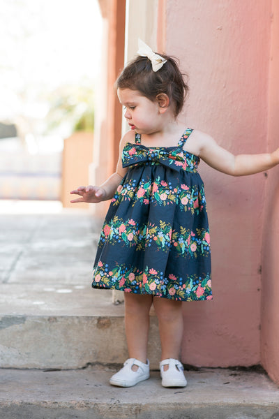 Navy Blue Flower Print Girl's Birthday Party Dress