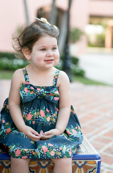 Toddler Girl's Party Dress in Navy Floral Print Cotton Handmade