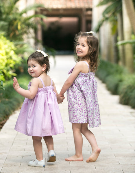 Matching Sister Party Dresses Purple Floral Spring Summer