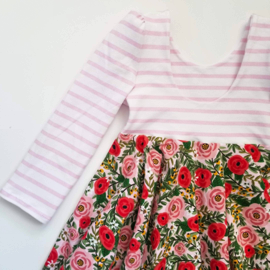 Toddler Girl's Floral Spring Cotton Knit Red and Pink Dress