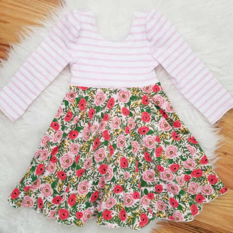 Flower Print Easter Garden Party Handmade Girl's Dress