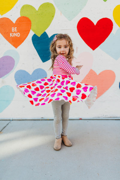 Girl's Twirl Dress in Heart Print Handmade Cotton