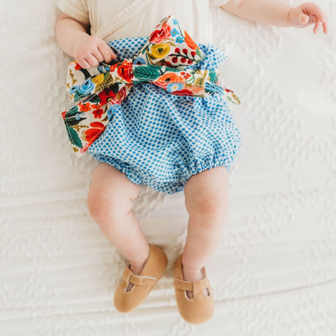 Belted Spring Blue Check Bloomers