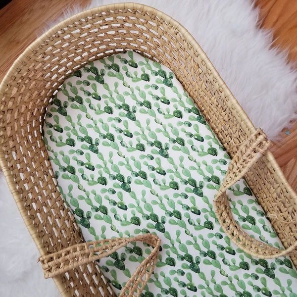 Green Boho Watercolor Cactus Moses Basket Sheet