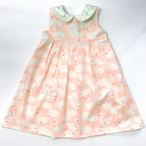 Pink and White Swan Print Handmade Girl's Dress