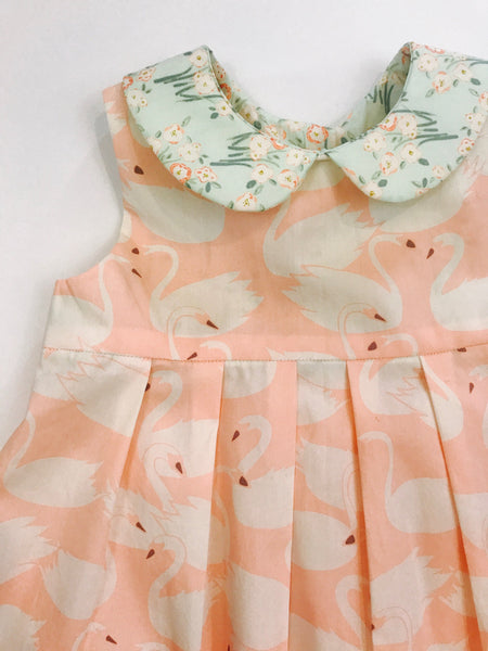 Pink and White Swan Print Girl's Party Dress