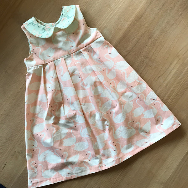 Pink Swan Printed Summer Girl's Party Dress