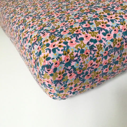 100% Cotton Handmade Pink and Blue Floral Crib Sheet