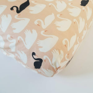 Organic Pink, White and Black Swan Crib Sheet Baby Bedding