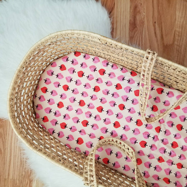 Organic Cotton Strawberry Print Baby Girl's Basinet Baby Bedding