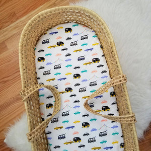 Cars and Campers Nursery Moses Basket Sheet