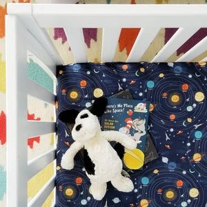 Solar system outer space astronaut baby nursery crib sheet