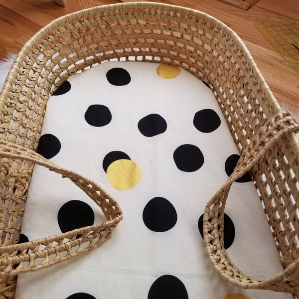 Gold and Black Polka Dot Modern Nursery Decor Bassinet Sheet Baby Bedding