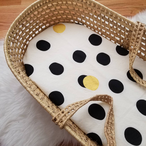 Gold Polka Dot Organic Cotton Moses Basket Sheet