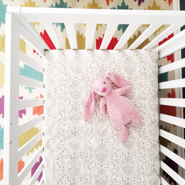 Grey Baby Crib Sheet Decorated with Flowers and Bunnies Pattern