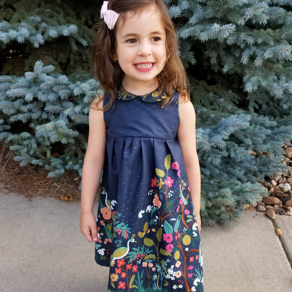 Handmade Girl's Party Dress with Flowers and Birds