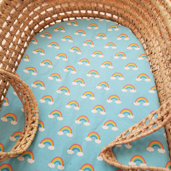 Blue Rainbow Baby Bedding Nursery Bassinet Sheet