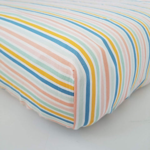 Pastel Striped Crib Sheet Baby Nursery