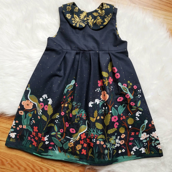 Navy Blue Girl's Floral Party Dress