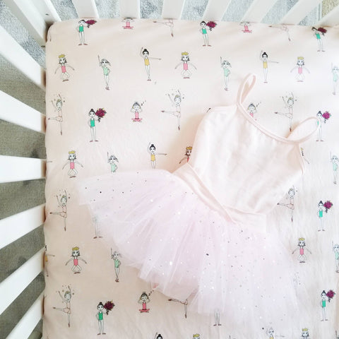 Baby Girl Crib Sheet with Ballet Dancers