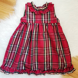 Custom Handmade Christmas Keepsake Dress in Classic Red Plaid Taffeta