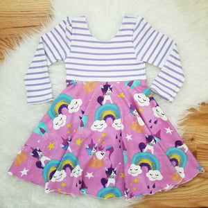 Purple Unicorn Rainbow Girl's Twirl Dress