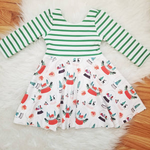 Handmade Christmas Party Dress with Snow Globe Print Twirl Skirt