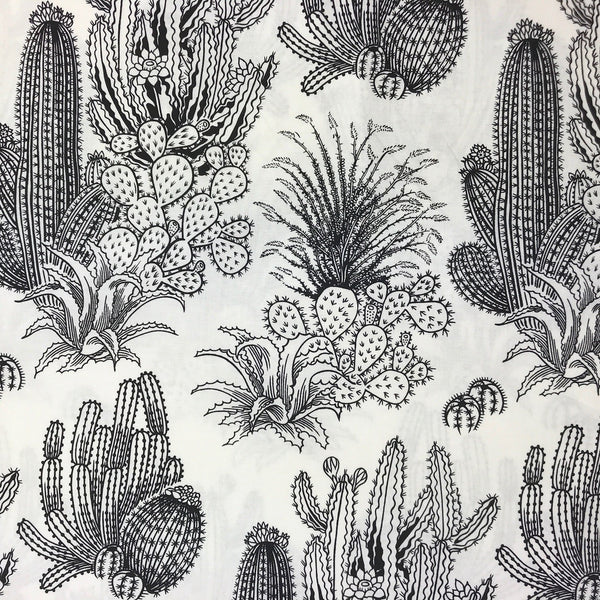 Black and White Illustrated Cactus Pattern Cotton Crib Sheet