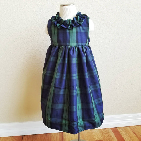 Toddler GIrl's 1st Christmas Dress Blue Taffeta Ruffle Neckline