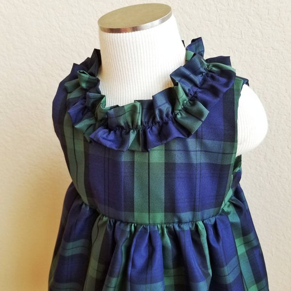 Ruffled Taffeta GIrl's Holiday Dress in Blue Plaid