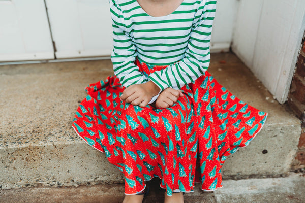 Handmade Cotton Girl's Red and Green Christmas Play Twirl Dress