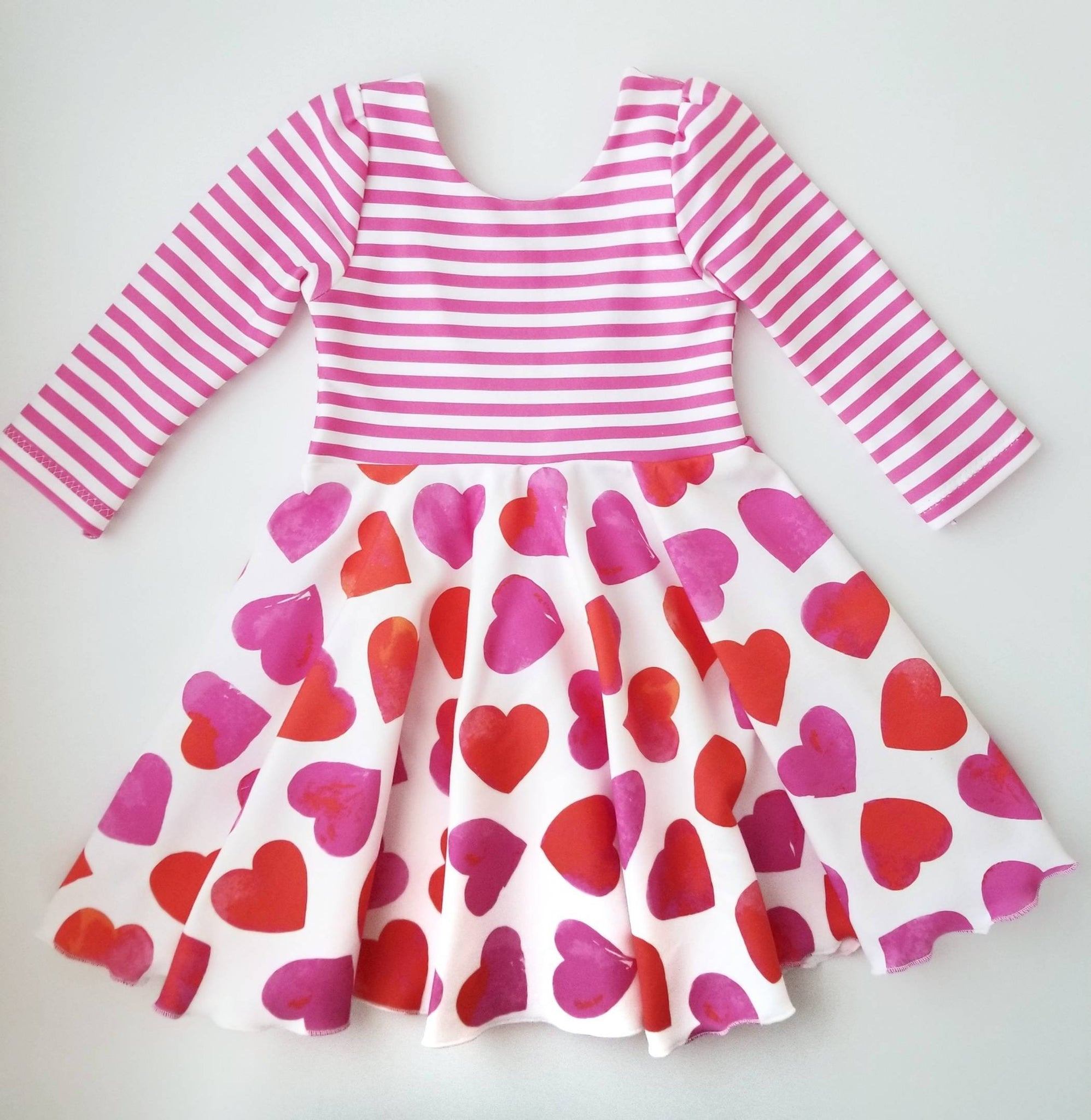 Valentine's Heart Print Twirl Dress Handmade Red & White
