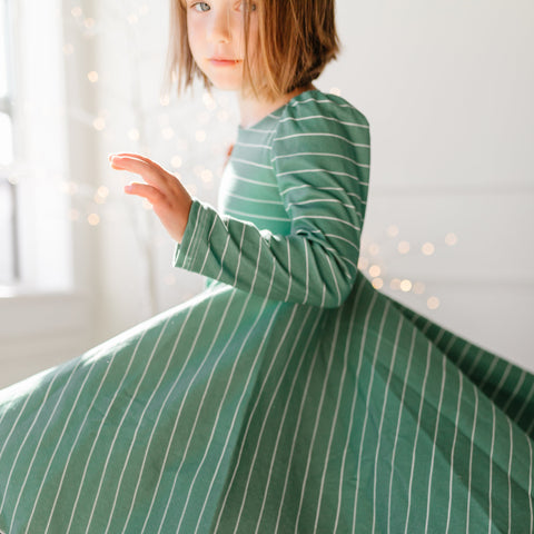 Girls Evergreen Stripe Christmas Twirl Dress