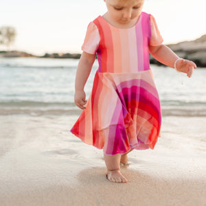Sunset Stripes Rainbow Twirl Dress