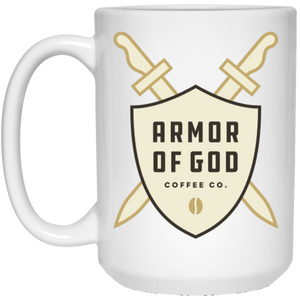 Armor of God White Logo - 15 oz. White Mug