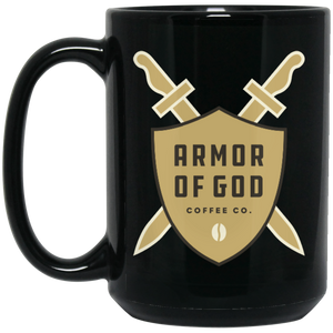 Armor of God Tan Logo - 15 oz. Black Mug