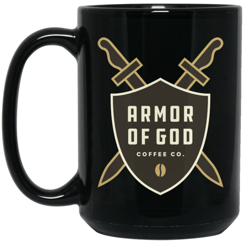 Armor of God Coffee Mug - Brown Logo on Black Mug - 15oz.